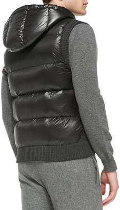 Moncler Knit Vest with Nylon Hood, Gray