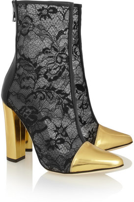 Balmain Lace, metallic leather and mesh ankle boots