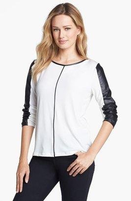 Calvin Klein Faux Leather Trim Top