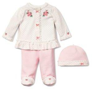 Little Me Newborn Girls 0-9 Months Chateau Rose Three-Piece Top, Leggings & Hat Set