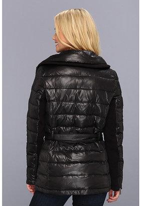 DKNY Short Down Belted Moto Coat