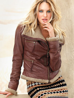 Victoria's Secret Leather Aviator Jacket