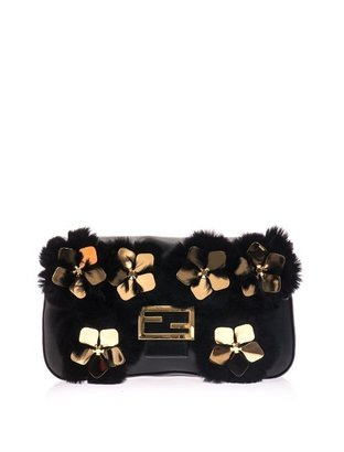 Fendi Baguette floral and fur leather bag