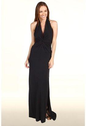 Halston Twist Front Halter Gown (Black) - Apparel