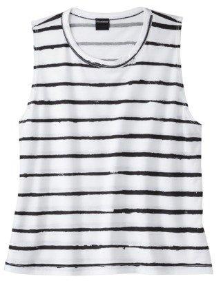 Juniors Striped Graphic Tank - White/Black