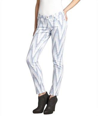 AG Jeans white and blue chevron stretch denim 'The Stilt' cigarette jean