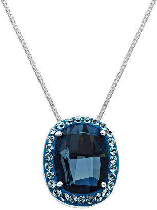 Lord & Taylor Sterling Silver Necklace with Denim Blue Crystal Pendant
