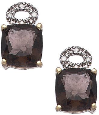 Viducci Gold Smoky Topaz and Pave Diamond Earrings