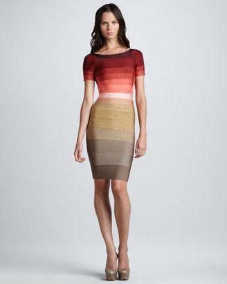 Herve Leger Ombre-Stripe Short-Sleeve Bandage Dress