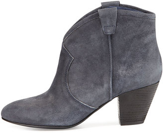 Ash Jalouse Suede Slip-On Western Ankle Bootie, Midnight
