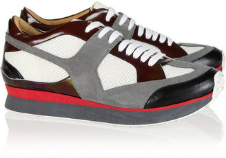 Maison Martin Margiela Paneled suede, leather and mesh sneakers