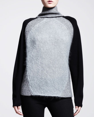 Helmut Lang Knit-Sleeve Turtleneck Sweater