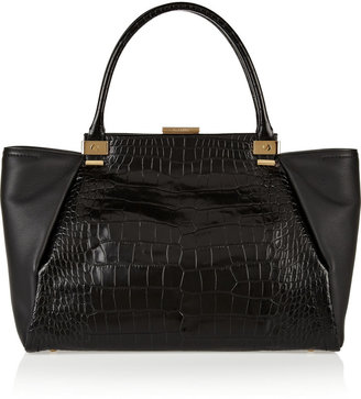Lanvin Croc-effect and textured-leather shopper