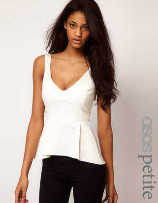 Asos Top With Peplum And Wide Straps