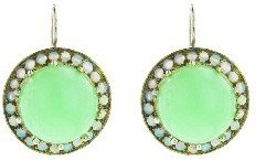 Andrea Fohrman Large Round Cabochon Chrysoprase and Opal Earrings - White Gold