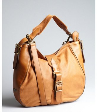 Burberry caramel leather and canvas buckle shoulder bag