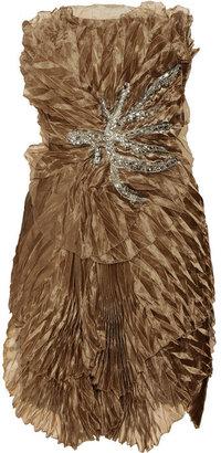 Marchesa Embellished plissé silk-crepe dress