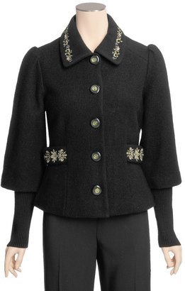 Icelandic Design Tyra Boiled Wool Jacket - Embroidered, Rib 3/4 Sleeve (For Women)