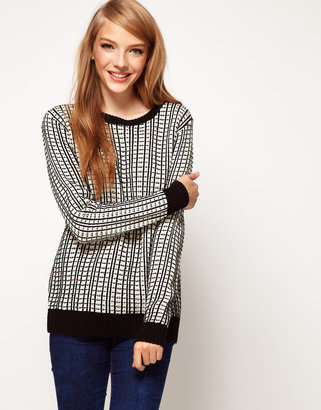 Asos Sweater In Grid Knit