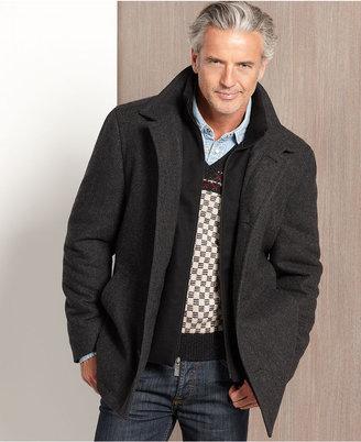 Nautica Jacket, Melton Wool-Blend Coat with Knit Collar