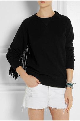 EACH X OTHER Shaman leather-fringed cotton-jersey sweatshirt