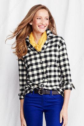 Lands' End Women's Tall Long Sleeve Pattern Flannel Shirt
