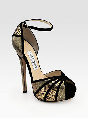 Jimmy Choo Kalpa Mixed Media Platform Sandals