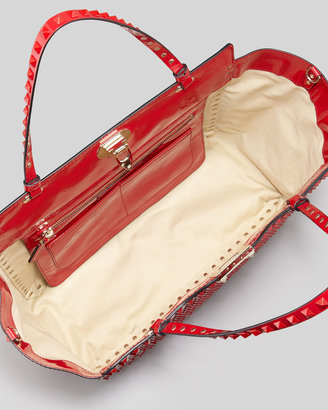 Valentino Punkouture Medium Allover Stud Patent Tote Bag, Red