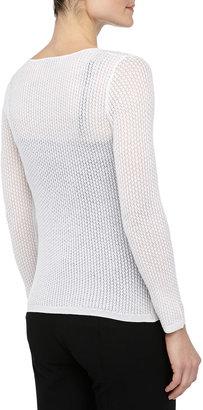 Theyskens' Theory Knit Long-Sleeve Scoop-Neck Sweater, Ivory
