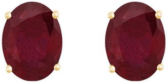 8x6mm Oval Precious Gemstone Stud Earrings, 14KGold
