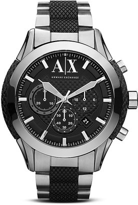 Armani Exchange Stainless Steel & Black Silicone Watch, 47mm