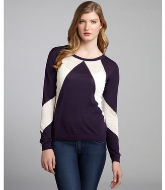 Shae blueberry and cream colorblock cotton-linen blend crewneck sweater