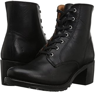 Frye Sabrina 6G Lace Up (Black Oil Tanned Full Grain) Women's Lace-up Boots