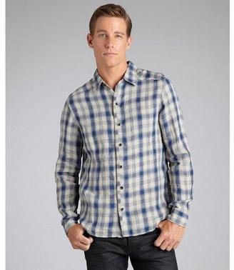 Vicarious by Nature blue plaid cotton button front point collar shirt
