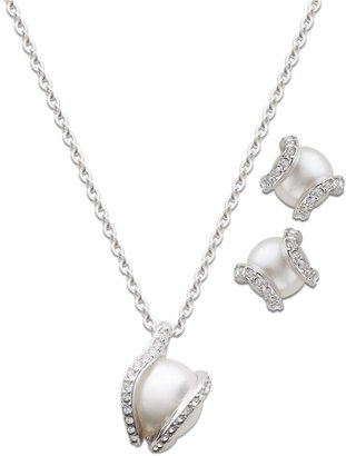 Swarovski Jewelry Set, Clear Crystal and Glass Pearl Pendant and Stud Earrings Set $169 thestylecure.com
