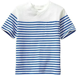 Gap Striped V-neck pocket T
