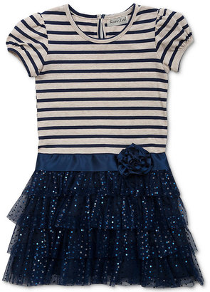 Rare Editions Little Girls' Striped-to-Mesh Dress