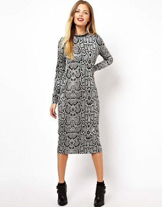 Asos Column Dress With Polo Neck In Snake - Multi