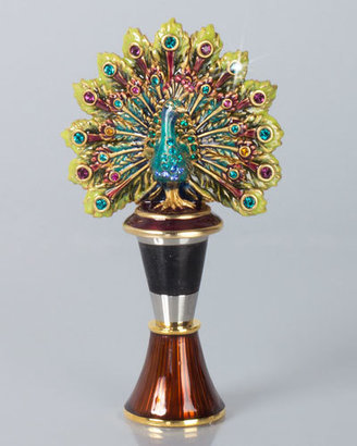 Jay Strongwater Hayden Peacock Wine Stopper with Holder