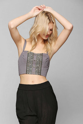 Urban Outfitters Staring At Stars Embroidered Button-Front Bra Top