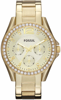 Fossil Women Riley Gold-Tone Stainless Steel Bracelet Watch 38mm ES3203