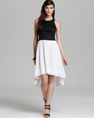 DKNY DKNYC Sleeveless Dress with Chiffon Skirt