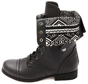 Charlotte Russe Tribal-Lined Fold-Over Combat Boots