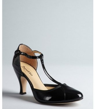 Repetto black patent leather cap toe t-strap pumps