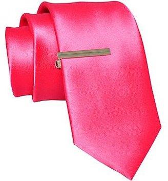 JCPenney JF J. Ferrar® Satin Solid Tie w/ Tie Bar