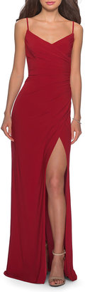 La Femme V-Neck Sleeveless Jersey Dress with Slip & Ruching
