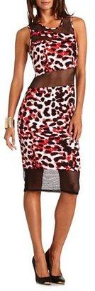 Charlotte Russe Leopard Mesh Inset Midi Dress