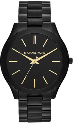 Michael Kors Women's Slim Runway Black-Tone Stainless Steel Bracelet Watch 42mm MK3221 $195 thestylecure.com