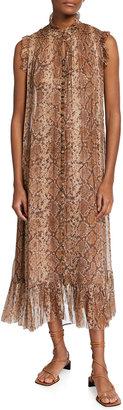 Zimmermann Botanica Python Georgette Midi Swing Dress