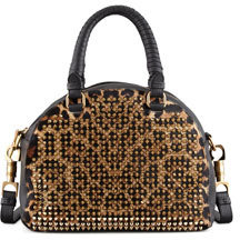 Christian Louboutin Panettone Small Spiked Leopard-Print Satchel Bag